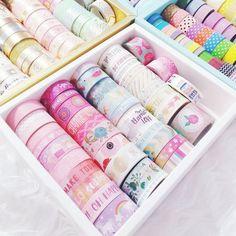 Boxes of washi tape Washi Tape Diy, Masking Tape, Washi Tapes, Stationery Store, Kawaii Stationery, Cute School Supplies, Craft Supplies, Marker Storage, School Organization