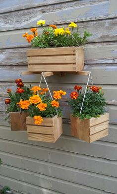 Planters all made by using recycled woods. Landscape Timber Crafts, Landscape Timbers, Rustic Planters, Flower Planters, Recycled Wood, Spring Garden, Herb Garden, Interior Design Living Room, Diy And Crafts