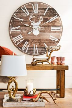 Brown Deer Silhouette Wall Clock - Paper - Home Decor Ideas Deer Decor, Rustic Decor, Farmhouse Decor, Wall Decor, Rustic Clocks, Farmhouse Clocks, Unique Home Decor, Diy Home Decor, Deco Restaurant