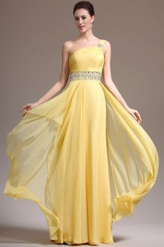 osell wholesale dropship Chiffon Pleated Pearl One Shoulder Sleeveless Floor Length A Line Evening Prom Dress $66.42