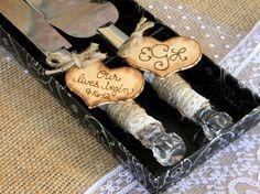 Cake Cutting Server Set Rustic Woodland Shabby by justforkeeps Wedding Cake Knife Set, Wedding Cake Server, Wedding Cake Rustic, Rustic Cake, Wedding Cupcakes, Rustic Weddings, Burlap Cake, Wedding Matches, Wedding Ideas