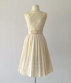 Vintage 1950s Dress...JEANNE Ivory Cotton Day Dress by deomas