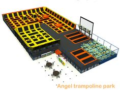 New Trampoline Park - dodgeball play area - Angel Playground equipment Co. Trampoline World, Backyard Trampoline, Trampolines, Cubby Houses, Cubbies, Playground, Bang Bang, Angel, Kids