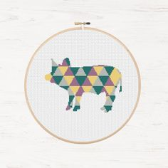 Pig Cross Stitch Pattern Farm Animal Instant Download PDF Modern Cross Stitch Triangle Geometric Gift Farmhouse Country Decor DIY Hoop Art