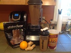 Chocolate  Orange  Ginger Oat Shakeology   1C. Unsweetened almond milk, 1 scoop chocolate  shakeology, 1/2 frozen orange , good chunk fresh ginger, 1 tblsn raw steel cut oats.