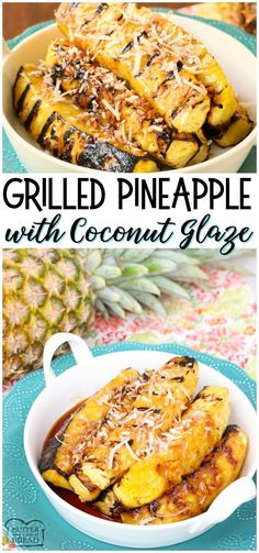 Grilled Pineapple with Coconut glaze is a fantastic side dish or dessert! Made easy with coconut, brown sugar and fresh pineapple, this is the best grilled pineapple I've tasted! from BUTTER WITH A SIDE OF BREAD Grilling Recipes, Crockpot Recipes, Soup Recipes, Cooking Recipes, Potato Recipes, Pasta Recipes, Chicken Recipes, Easy Summer Meals, Summer Recipes