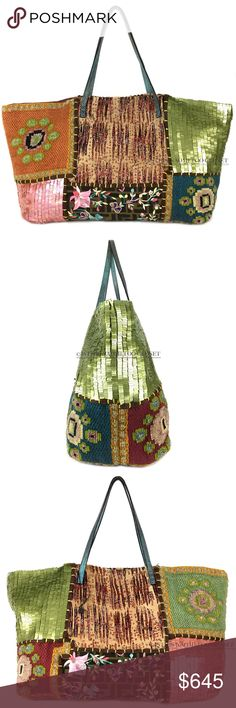 "FENDI Italy Zucca Patched Embellished Nylon Tote 472. Patch pattern: FENDI© signature beaded embroidered/ fur/knit/ stitched patch patterns, green leather handle, silk inner lining, medium zipped pocket, Authentication: 83158790991. Lacks stiffness.   Length-~13.5,"" Width -~5,"" Height-~11"", Height (w/ straps)-~18.""  -Any Spots/ alterations: GENTLY USED. Barely noticeable outer/ inner-shell wear. Barely noticeable strap wear. FENDI Bags Totes"