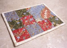 Quilted Mug Rug Red BlueGreen Moda by SharleesQuiltCottage on Etsy