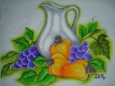 Jarro com frutas, cajus e uvas, pintura