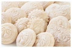Springerle cookies, vanilla, made with several springerle molds.
