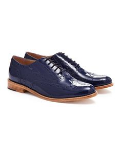 Joules Womens Leather Brogues, French Navy.