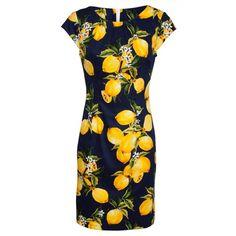Smashed Lemon - Mørkeblå kjole med gule citroner