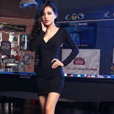 J41704 Europe fashion V-beck slim dress black