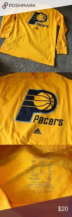 Indiana Pacers along Sleeved Adidas TShirt Only wore once! Men's medium. Fits oversized on me and I normally wear women's medium. Could fit a women's large! adidas Tops Tees - Long Sleeve
