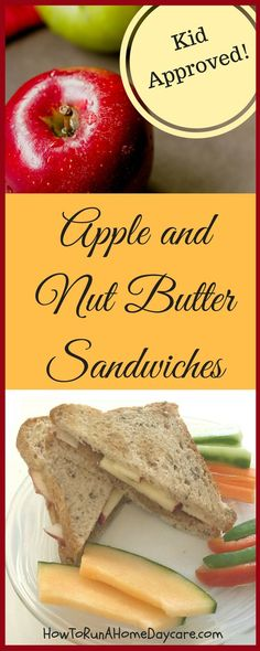 Great sandwich idea for the kids! The nut butter provides protein and the sweet apples give a delicious crunch. This is a favourite in my home daycare.