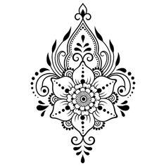 Simple Mandala Tattoo, Mandala Flower Tattoos, Henna Mandala, Henna Drawings, Flower Tattoo Drawings, Mehndi Drawing, Henna Kunst, Henna Art, Henna Mehndi