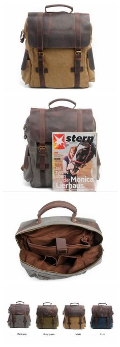 LEATHER CANVAS BACKPACK, GENUINE LEATHER HANDMADE BACKPACK,BAG AND BACKPACK