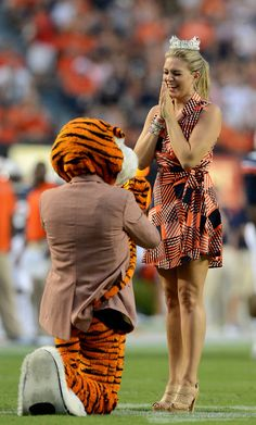 Opelika native Miss America 2013 Mallory Hagan being proposed to by Aubie the Tiger