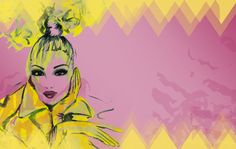 Painted fashionillustration of a beauty dressed in Haute Couture. Digitally edited with pink background to celebrate Fashion. Free Download! #wallpaper #desktopwallaper #fashionillustration #illustration #fashion #colorful #fashiondrawing #chic Desktop, Chic Wallpaper, Illustration Fashion, Haute Couture Fashion, Wallpapers, Colorful, Disney Princess, Celebrities, Anime