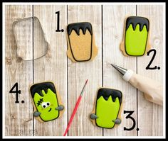 ☆Use Sweet Sugarbelle Ball Jar Cutter LilaLoa: Classic Frankenstein Cookies Dulceros Halloween, Postres Halloween, Halloween Baking, Halloween Desserts, Halloween Cakes, Halloween Birthday, Fall Cookies, Iced Cookies, Halloween