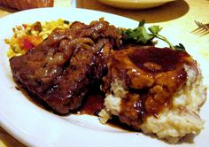 Cheesecake Factory Meatloaf -Made this tonight -It takes forever to prepare - but it was SO GOOD! Everyone cleaned their plate -the boys like this better than my traditional meatloaf. Meatloaf Recipes, Beef Recipes, Cooking Recipes, Meatloaf Gravy Recipe, Grilled Meatloaf, Meatloaf With Gravy, Fun Recipes, Recipies, Cheesecake Factory Copycat