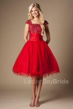 The Avalynn | This flirty gown features a sequined top, rouched waist and full tulle skirt.    Available in Red, Blue or Yellow    Dress Shown in Red    Available at LatterDayBride.com or in Store At Latter Day Bride Located in Salt Lake City, Utah