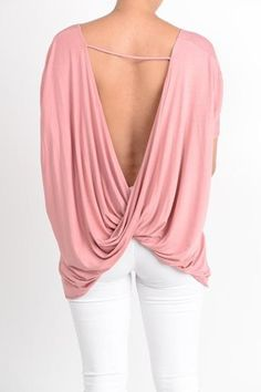 Short Sleeve Draped Open Back Top