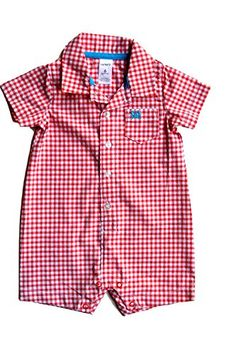 Carters Baby Boys Plaid One Piece Romper Orange White 18 Months ** You can get additional details at the image link.Note:It is affiliate link to Amazon.