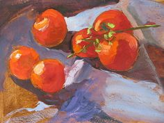 Roma Tomatoes by Ann Watcher Oil on Paper ~ 9 x 13