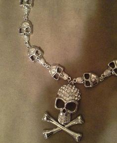 New SilverTone Skulls & Skull & Crossbones W/ Rhinestones Chain for sale by Mystic Mel at MoreThanHorror.com