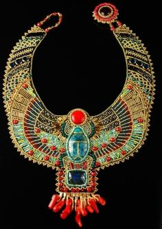 Bead Embroidered Egyptian Scarab Necklace                                                                                                                                                                                 Más