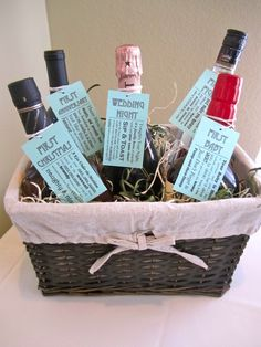 What a cute shower gift!! This site even has the templates for the labels! A bottle of wine/liquor/champagne for memorable events during the first year (s) of marriage!