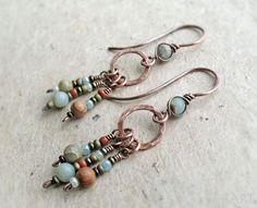 Copper Long Dangle Earrings Aqua Terra Jasper African Blue Opal Wire Wrapped Brass Sterling Silver Heart Chakra Rustic Boho Earthy (18.49 GBP) by JustynaSart