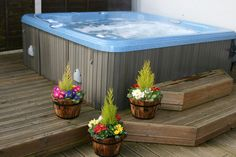 Here is a classic above ground hot tub. This kind of hot tub is perfect