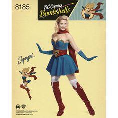 Pattern 8185 D.C Bombshells Super Girl Costume for Misses