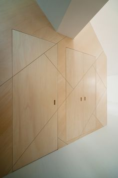 * Gallery of Space-Saving Solutions: 33 Creative Storage Ideas - 29 Awesome Amazing Gallery of Space-S. Architecture Details, Interior Architecture, Interior And Exterior, Interior Design, Modern Interior, Plywood Interior, Plywood Walls, Door Design, Wall Design