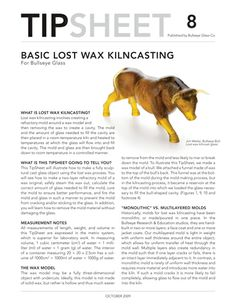 tipsheet, basic lost was kilncasting