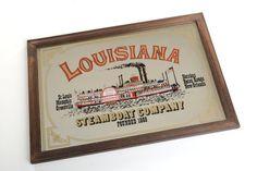 Espejo vintage con publicidad Steamboat Company de por Brocantebcn #vintagemirrors#signmirrors