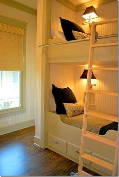 buit-in bunk beds; so cute but I can't believe they're each equipped with a separate TV