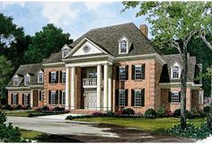 Georgian Architecture House Plans Best Of Stately Georgian Manor Lv Georgian Mansion, Colonial Mansion, Colonial House Plans, Southern House Plans, Country Style House Plans, Georgian Homes, Architecture 3d, Georgian Architecture, Best House Plans