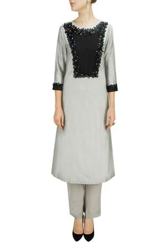 Grey black embroidered patchwork kurta set by ILK.Shop now at: www.perniaspopups... #perniaspopupshop #amazing #beautiful #clothes #style #designer #fashion #stunning #trend #new #ilk