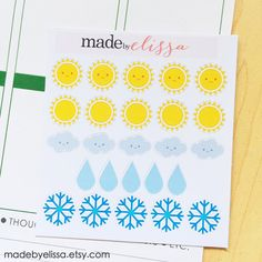 Weather Stickers // Die-Cut Planner Stickers // Perfect for the Erin Condren Life Planner!