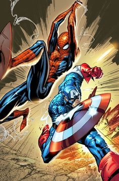 Spider-Man and Captain Marvel by J. Scott Campbell and Edgar Delgado