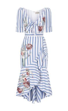 A nod to the nostalgic glamour of 1950s Brigitte Bardot, the Bella Ruffle Dress is cut from azure candy-striped cotton embroidered with handcrafted checkerboard botanical flowers. With a front bow, fitted waist and large ruffle neckline flowing delicately