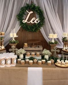 Themed dessert table of rustic baptism- event styling, event . - Themed dessert table of rustic christening- event styling, event stylist, birthday party decor, bir - Baptism Party Decorations, Decoration Birthday, Communion Decorations, Birthday Party Centerpieces, Rustic Birthday Parties, Dessert Table Birthday, Dessert Tables, Rustic Theme Party, Baptism Dessert Table