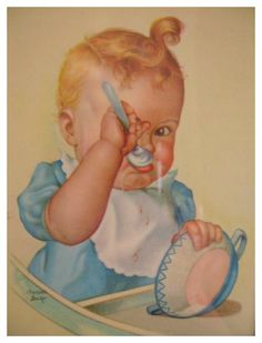 Known for her wide-eyed, rosy-cheeked images of babies. Some of the best illustrations of babies produced during the first half of the century were created by Charlotte Becker. Images Vintage, Vintage Artwork, Vintage Pictures, Vintage Cards, Vintage Postcards, Vintage Prints, Baby Images, Baby Pictures, Cute Pictures