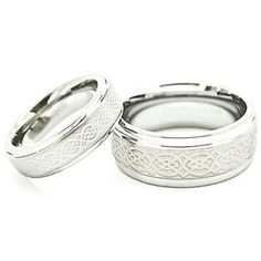 Matching Ring Set 6mm 9mm Celtic Knot Polished Tungsten Wedding Rings