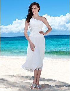 Sheath / Column One Shoulder Tea Length Chiffon Wedding Dress with Sash / Ribbon Bow Draped Ruche by LAN TING BRIDE®