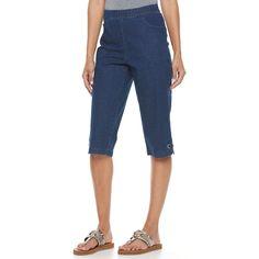 Women's Croft & Barrow® Embellished Skimmer Capris, Size: Large, Dark Blue