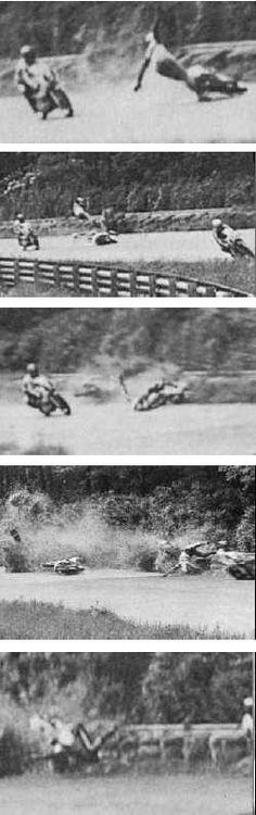 Peer Landa's racer idol -- Jarno Saarinen and Renzo Pasolini died at Le Curva Gran, Monza, Italy.